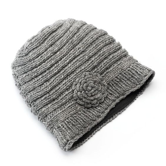 Sijjl Women's Ribbed Floral Cable-Knit Wool Beanie, Grey