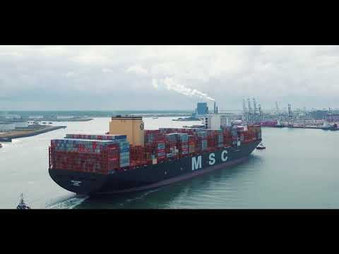 The Current Largest Container Vessel Msc Gulsun 400m 1 300ft Arriving In Rotterdam On Her M Rotterdam World S Biggest Msc