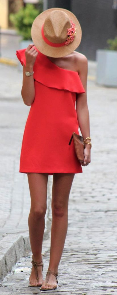One shoulder coral dress, love all of this for summer: