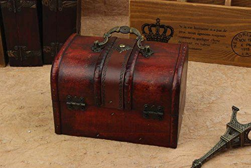 2Pcs Wood Wooden Storage Jewelry Box Vintage with Metal Lock Treasure Chest Case