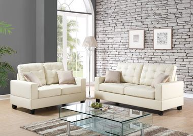2-Pcs Sofa loveseat Set w/ 4 accent pillows PU Fuax Leather Beige