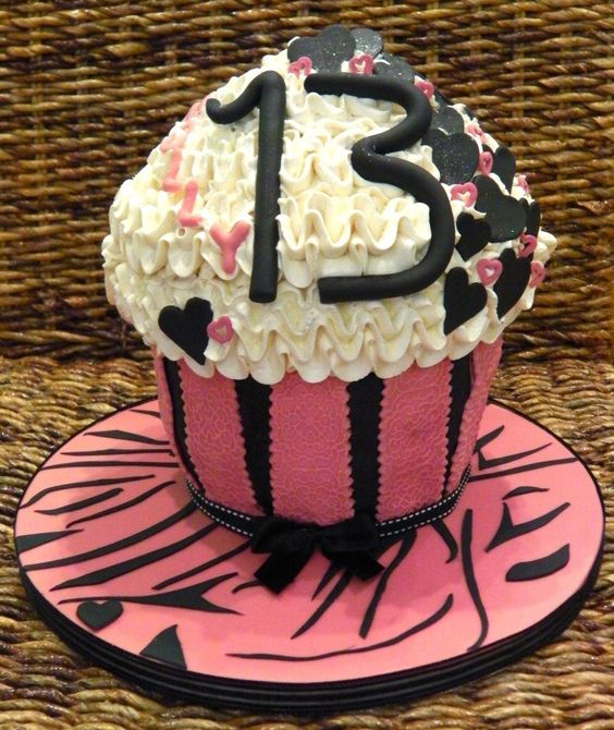 Girly Giant Cupcake 13th Birthday Celebration Cake | Flickr ...