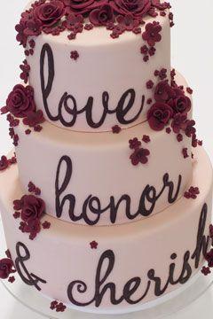 love, honor cherish cake