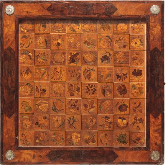 A Bohemian silver-mounted relief-carved fruitwood marquetry and walnut folding games box. By Adam Eck, Eger, signed and dated…
