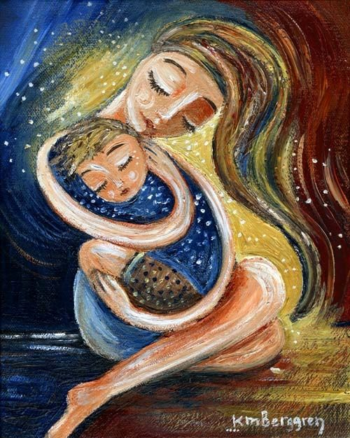 print on canvas, archival, original painting, hug, embrace, mother and child, mother and son, brown, red, blonde, long hair, closed eyes, gifts for mom, straight hair, short hair, sick kid, flu, snuggle, sleep, cherish, full body hug