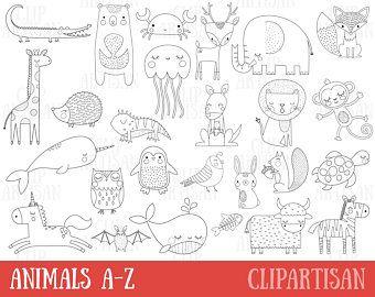 Rainforest Animals Digital Stamps Clipart In 2021 Digital Stamps Alphabet Clipart Animal Clipart