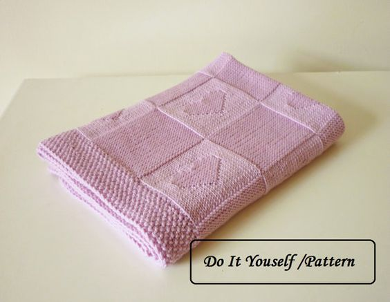 Knitting Patterns For Baby Blankets With Hearts : Knit baby blanket pattern / baby blanket pattern / baby blanket heart pattern...