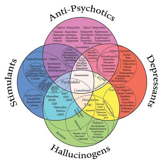 meds/drugs: depressants, stimulants, antipsychotics, hallucinogens