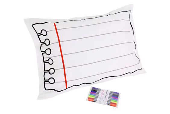 Check out these Doodle Pillowcases ($19.95, Convenient Gadgets & Gifts).  They allow you to write on your pillow case with washable markers, and then wash the messages in the laundry.