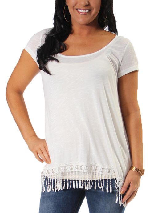 Wonderland Tee with Fringe in Soft White