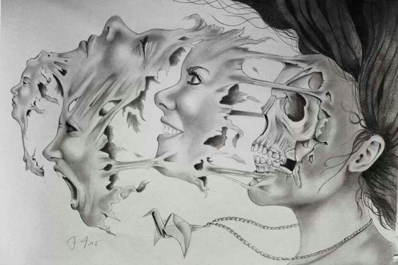 This print, in my opinion, interprets the many faces of Bipolar Disorder.