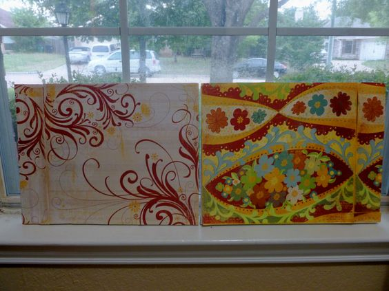 Wall Art using Scrapbook paper