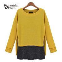Marca mujeres suéter 2014 otoño Patchwork o-cuello de manga larga suéter de punto moda suéter flojo más el tamaño M-5XL