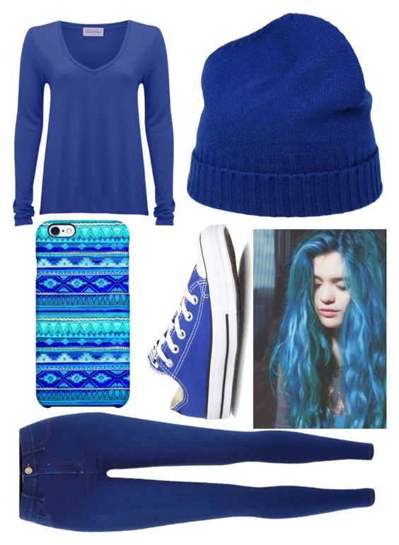"""Blue Outfit-Casual"" by unicorn-narwhal ❤ liked on Polyvore featuring American Vintage, River Island, Converse, malo and Uncommon"