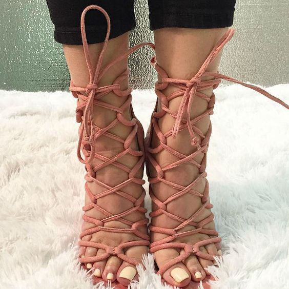 Cut Out Lace Up Sandal Heels | Stunning Women's Shoes | Pinterest ...
