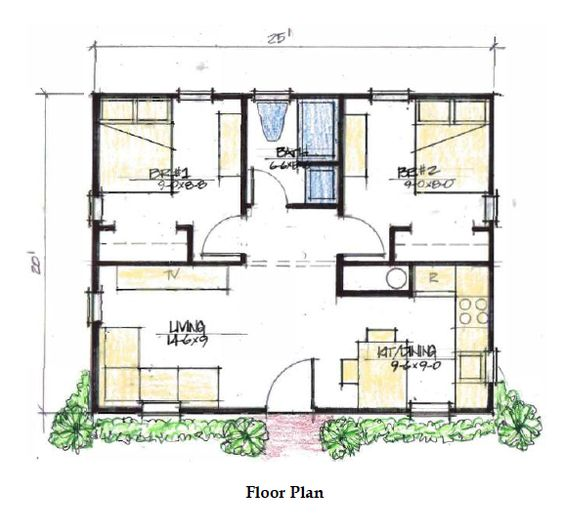 two bedroom 500 sq ft house plans - google search | cabin life