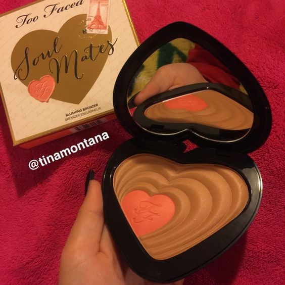 "Too Faced Soulmates Bronzer Brand new, 100% authentic, never swatched, only opened to take picture. Too Faced Soul Mates illuminating bronzer / blush duo, in the shade, ""Carrie & Big."" This is a huge compact and I would say it could last a very long time, no exaggeration. It has the factory stamped code, proving authenticity. Retails for $34 on Too Faced official site. Trade value reflects retail value! Too Faced Makeup Bronzer"