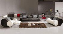 3PC NEW MODERN RECLINER W/ CUP HOLDER LEATHER SOFA SET- V-3088: