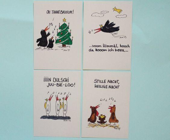 Weihnachtslieder - Karte - singende Vögel - KCA19 von PiepShow auf DaWanda.com