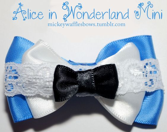 Mini Alice in Wonderland Hair Bow. $3.00 on etsy. This shop has some of the best Disney bows I've seen.