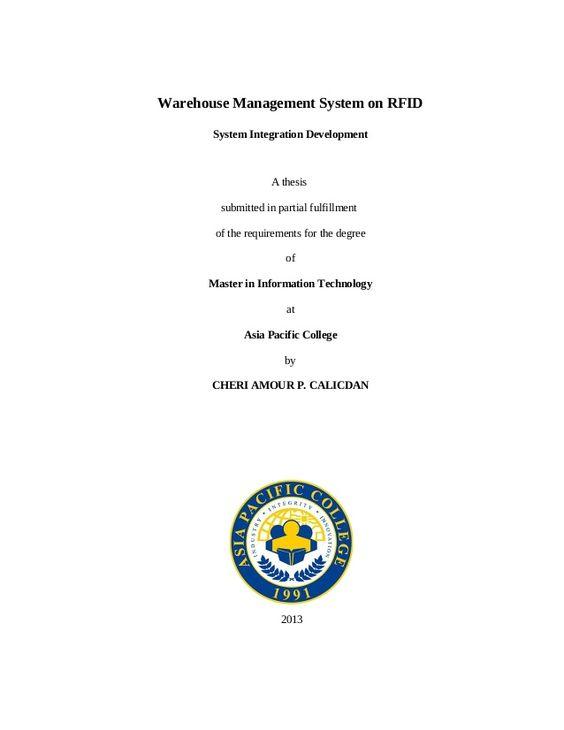 Warehouse Management System On Rfid System Integration Development