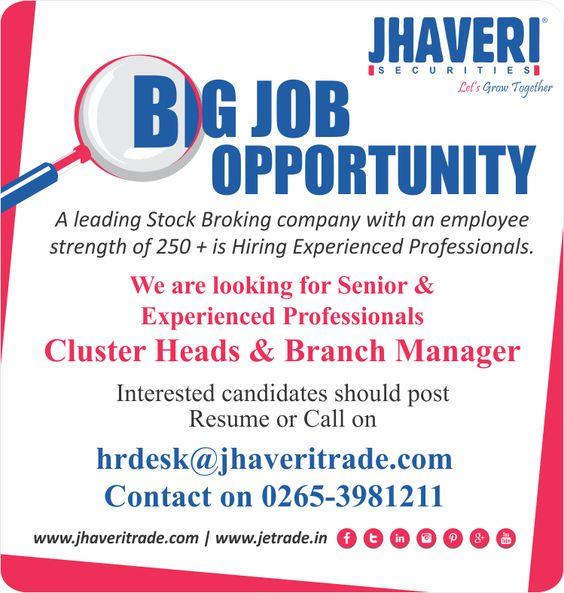Job Opening at Jhaveri Securities Ltd Interested candidates - post resume