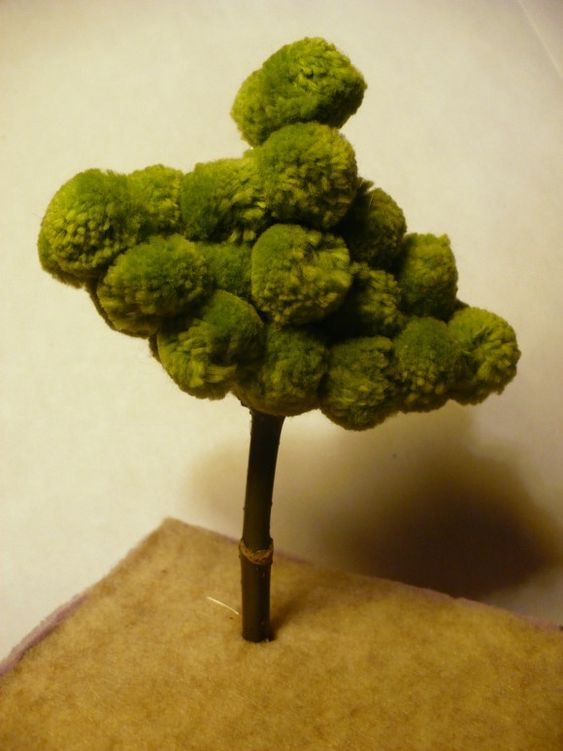 dollar store crafts blog archive make a miniature pom pom tree dollhouse plants outside. Black Bedroom Furniture Sets. Home Design Ideas