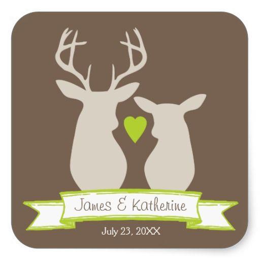 Wunderliche Waldrotwild-Gastgeschenk Hochzeit Sticker