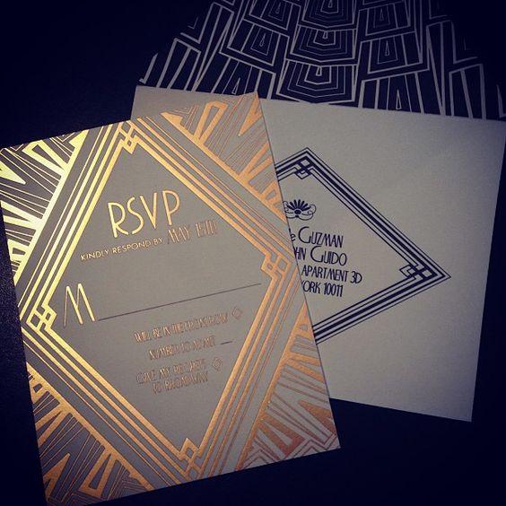 @Nina Gonzalez Gonzalez Agnello  this said art deco so I thought of you  Ellington Art Deco Wedding Invitations