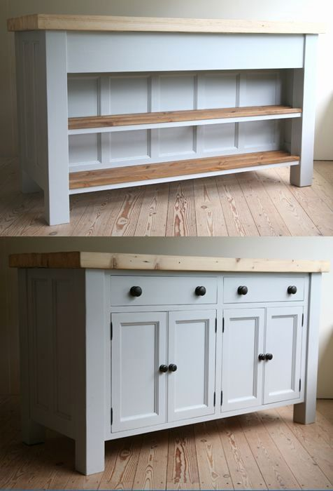 Free Standing Country Kitchen Cabinets Free Standing Kitchen Sink Unit , Handmade solid Wood island Units