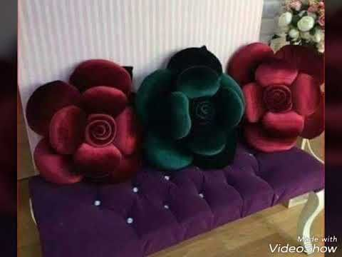 اشغال يدوية طريقة عمل مخدة وسادة على شكل وردة شرح بصور Youtube Pillow Crafts Felt Flower Pillow Diy Pillows