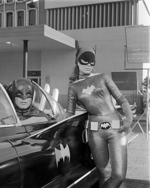 "B/W shot TV's Batman with ""batgirl,"" Barbara Gordon"
