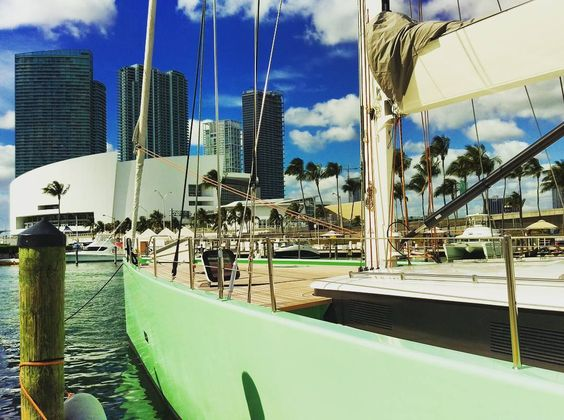American Airlines Arena as viewed from Miami Bayside Marketplace marina while at the boat show.  # # #MiamiBoatShow #boat #Miamiboatshow2016 #boats #sailboats #sailboat #sailing #Bay #Bayside #catamaran #MiamiBayside #MiamiFlorida #water #sky #beautifulday #miami #clouds #bluesky #cityscape #winterinFlorida #Floridalife #florida #AmericanAirlinesArena by rg_dreamer