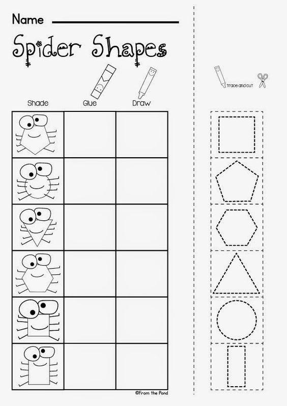 Free Spider Shapes Worksheet Kindergartenklub Com