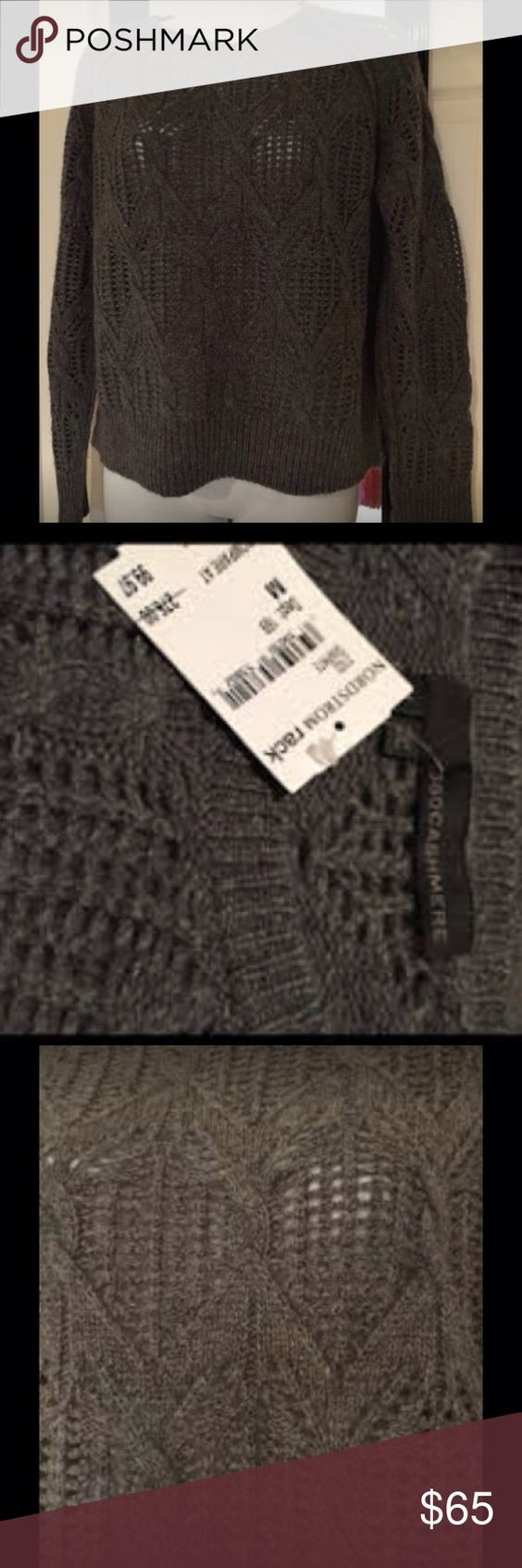 Nwt 100% cashmere thick lacy sweater Super soft gray sweater 360 cashmere Sweaters Crew & Scoop Necks