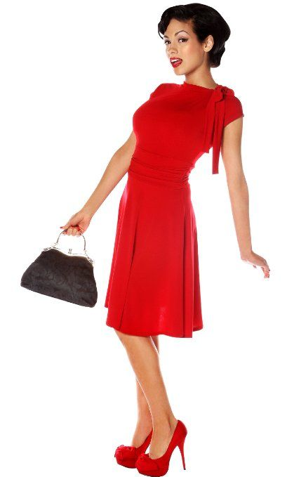 Amazon.com: Folter Bridget Bombshell Dress Retro Pin-up: Clothing in black and red $68