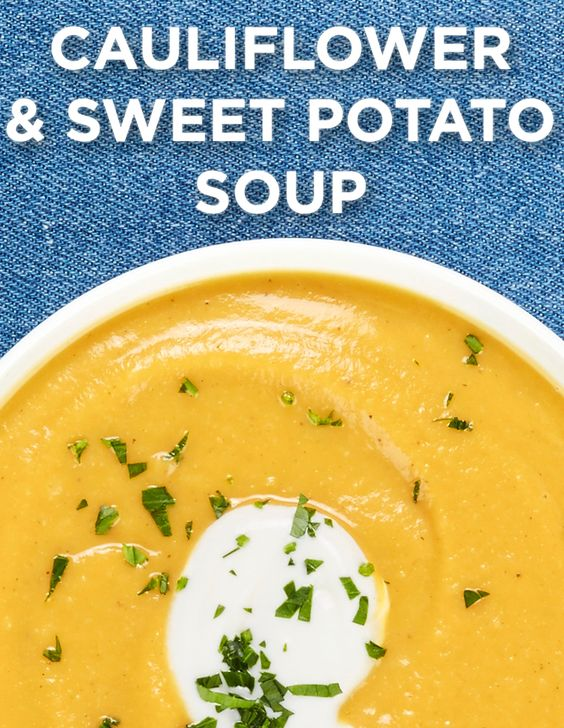 ... Roasted Cauliflower & Sweet Potato Soup will warm you from your nose