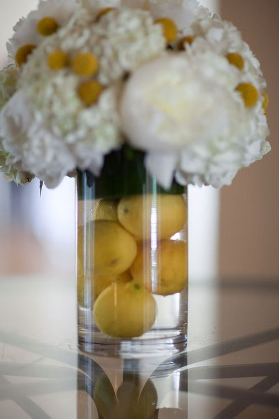 Lemon center pieces party planner pinterest yellow