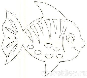 Шаблон детской вытынанки рыбки: