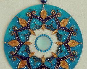Mandala vitral Azul Oriental 40cm
