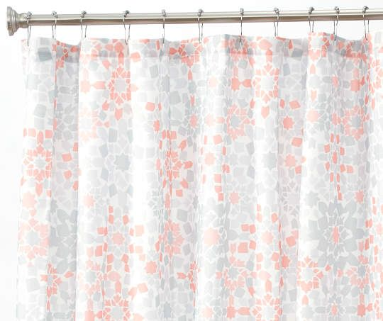 Aprima Casbah Gray Orange Fabric Shower Curtain Fabric Shower