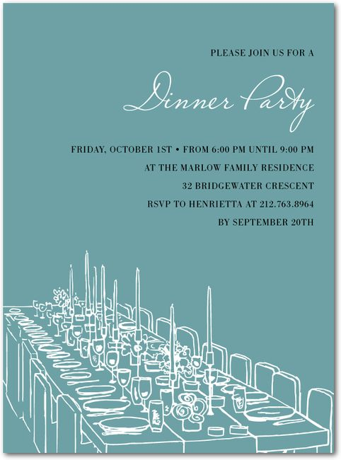 Formal Feast Party Invitations in Seafoam or Mango – Formal Dinner Party Invitation