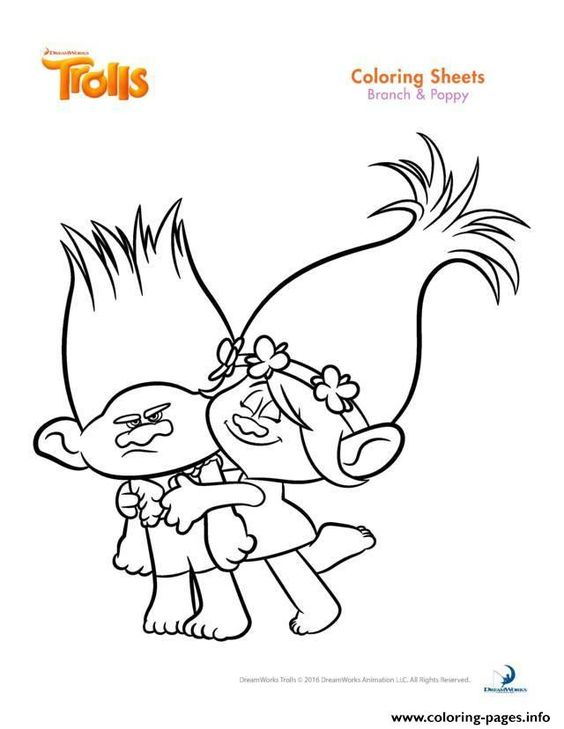Print branch and poppy trolls coloring pages trolls