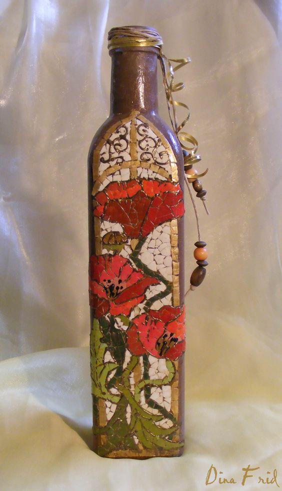 mosaic, poppies on bottle: