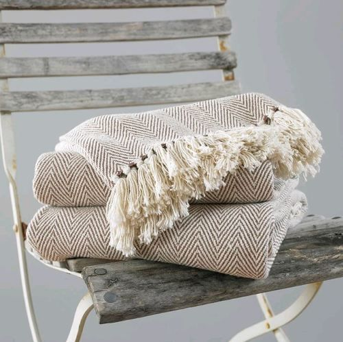 Home Decor Throws Pure Cotton Zig Zag Fringed Sofa Couch Throw ...