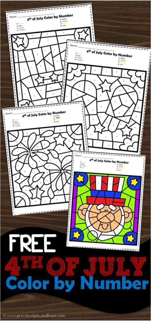 Patriotic Subtraction Color By Number Labor Day Crafts Crafts For Seniors Coloring For Kids