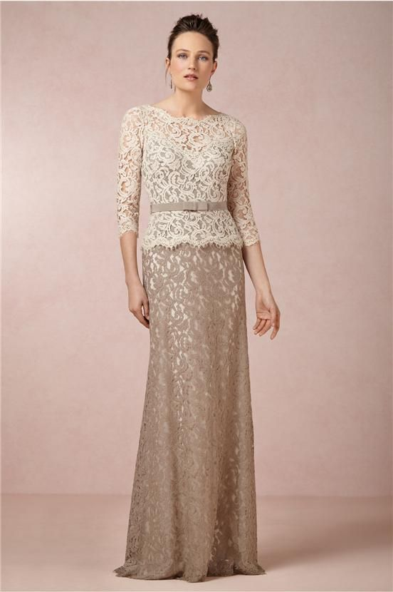Sheath 3/4 Long Sleeves Two-tones OverLace Mother of the Bride Dresses Ribbon Belt Illusion Beige Lace Top Brown Skirt Prom Evening Gowns