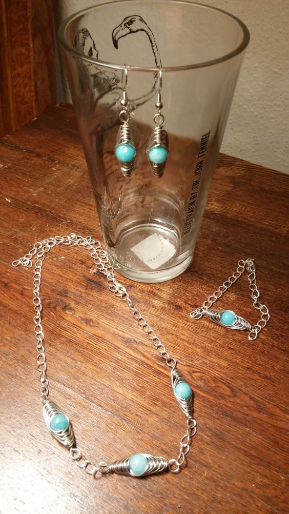 Hypoallergenic glass bead jewelry set by IronEagleLeatheretc on Etsy