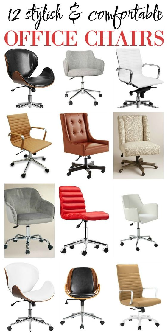 Really great list of 12 Stylish and Comfortable Office Chairs - most are very affordable as well! Great desk chairs!