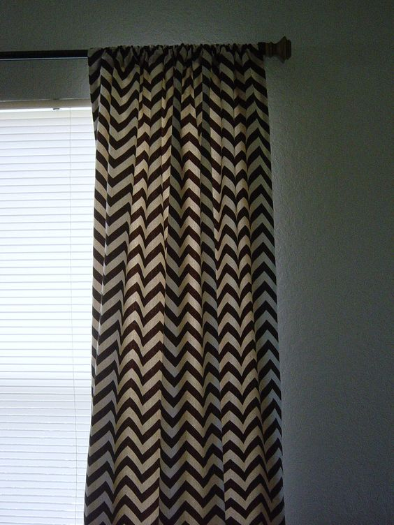 Curtains Ideas 115 inch curtains : Village Brown Natural Zig Zag Chevron Curtains Rod Rocket 63 72 84 ...